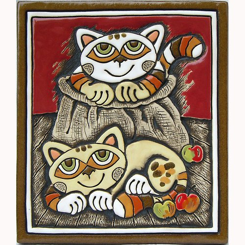 Keramický obrázek - Kočky v pytlíku K-115-CE