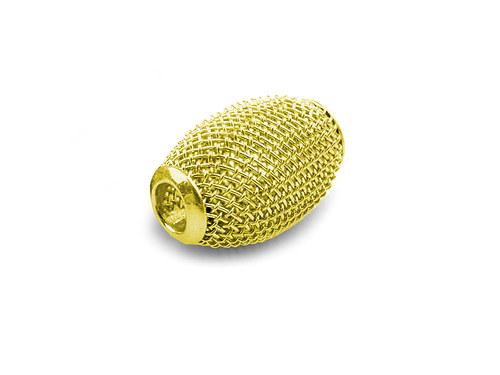 9001092/Drátkovaný korálek široký, zlatý, 1 ks