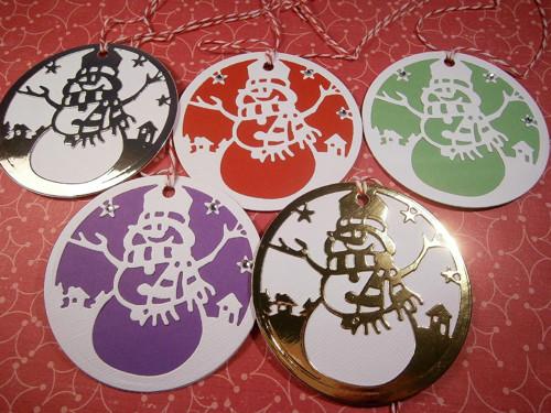 Vánoční visačky - sněhulák v kruhu