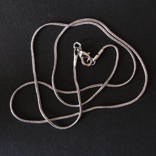 Řetízek hadí, platinový, s uzávěrem, 44 cm, 3 ks