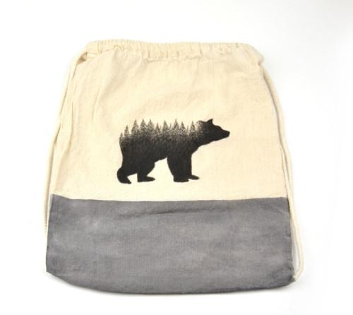 Látkový bavlněný batoh s motivem medvěda