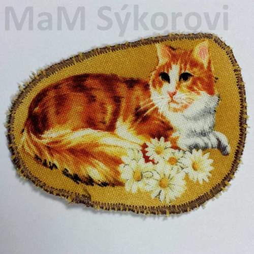 Nažehlovací záplata kočička s kopretinami Sleva