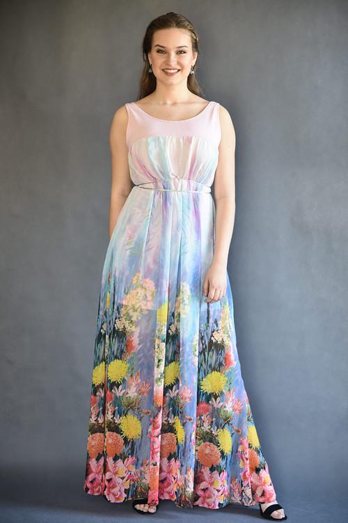 Šifónové šaty s květinovou bordurou růžové