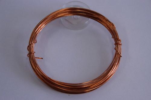 Měděný drátek 1mm - měděný, návin 3,8-4m
