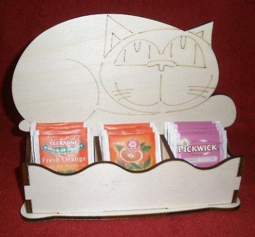 *Stojánek na čaj 3 komory - motiv KOČKA ležíc
