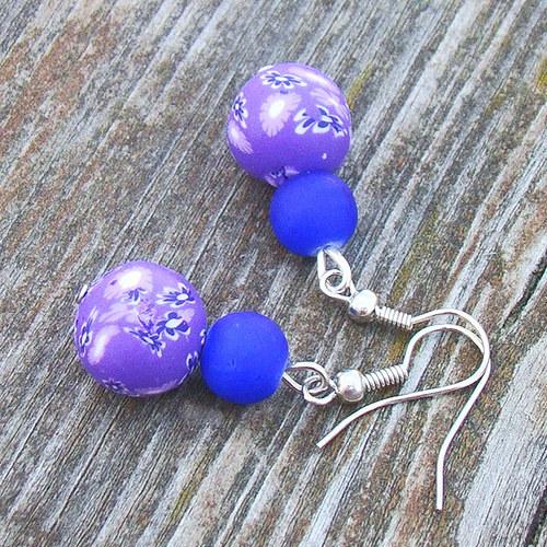 náušnice -  fimo kuličky fialové