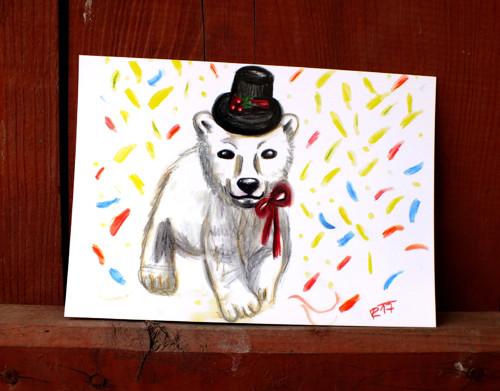 Medvídek Silvestr - pohlednice/přání