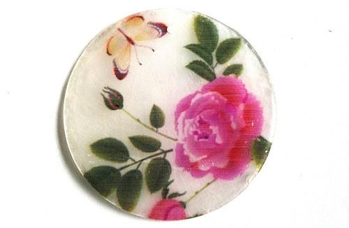 056 perleťové placky tenké - růže a motýl