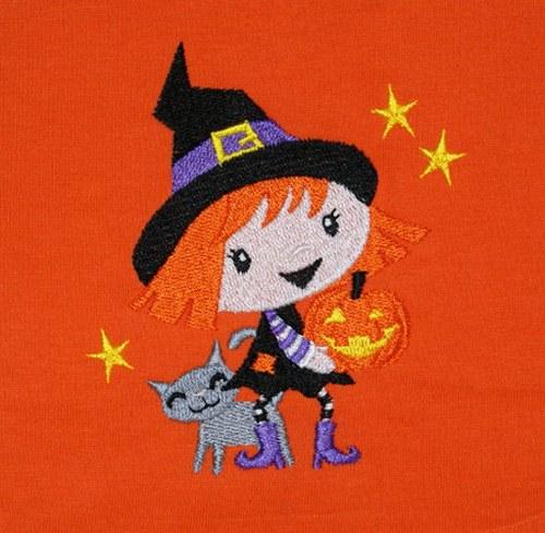 Dětské tričko s vyšívanou čarodějničkou