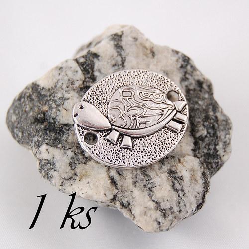 Želva stříbrné barvy na oválném podkladu - 1ks