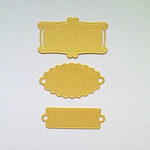 Výsek - Štítky zlaté  3ks