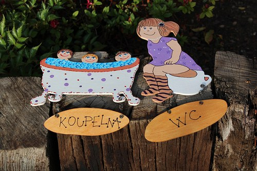 Dřevěná cedulky na dveře KOUPELNA a WC