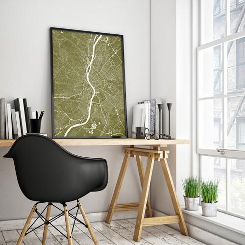 BUDAPEŠŤ, 50x70cm, minimalistická, zlatá