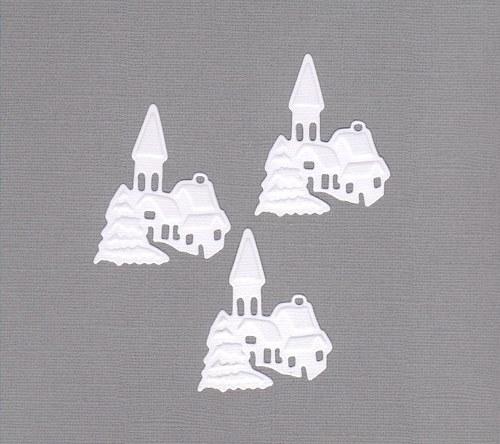 Zasněžená vesnička na výšku - bílé výseky (3 ks)