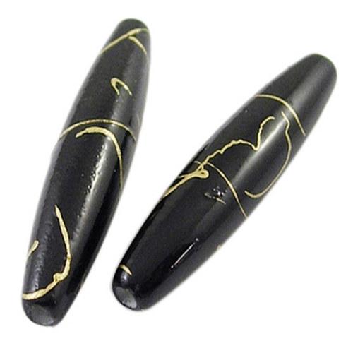 akrylové korálky žíhané/ černé / 28x7mm/ 4ks