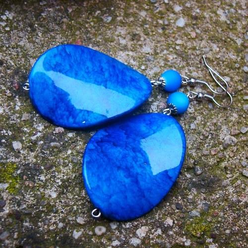 náušnice velké modré mramorové