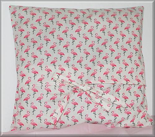 Růžoví plameňáci  na mašličku 40 x 40cm