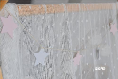 Girlanda - hvězdičky růžová+šedá