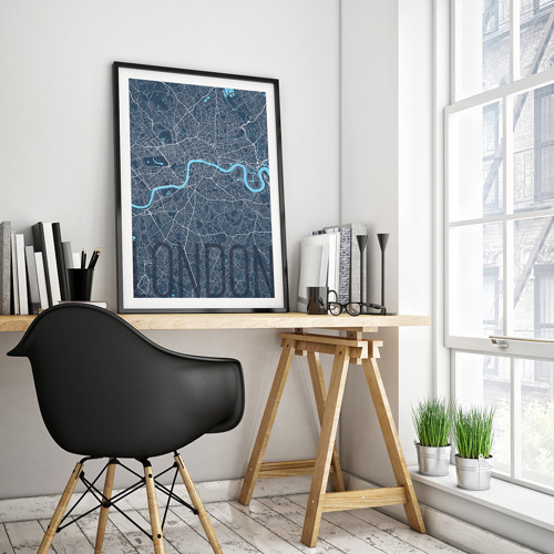 LONDÝN, 50x70cm, elegantní, tmavě modrý
