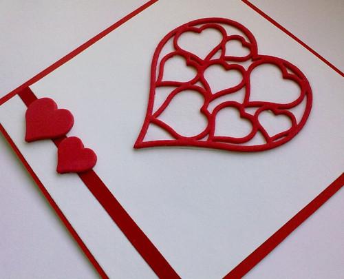Přání - Srdce červené z pěnovky moosgummi