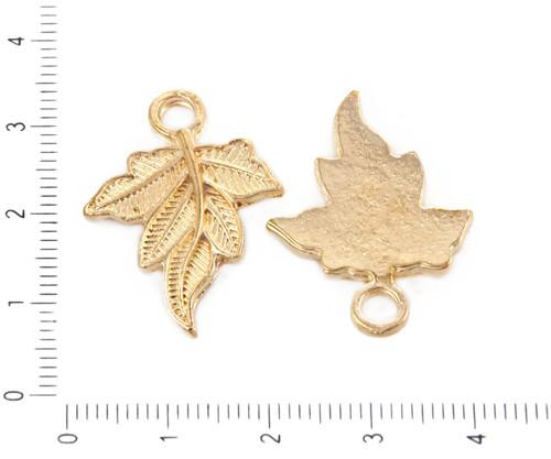 6ks Gold Tón Pozlacený Maple Leaf Příroda Květinov