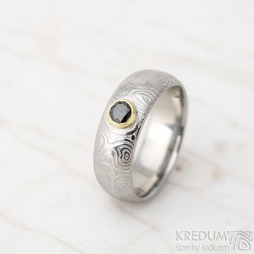 Prima a černý diamant  - Damasteel zásnubní prsten