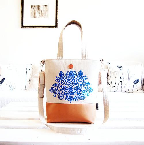 Veľká taška z ľanovej folk kolekcie