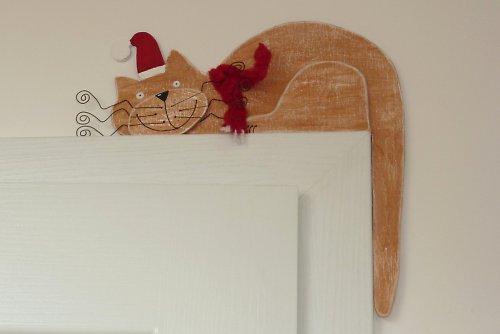VÁNOČNÍ dřevěná kočka na dveře nebo polici