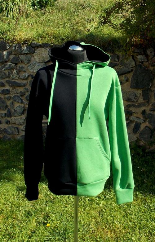 Mikina půlená černá/zelená