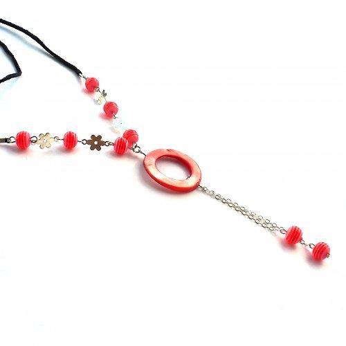 Červený delší náhrdelník - 20% sleva!!!