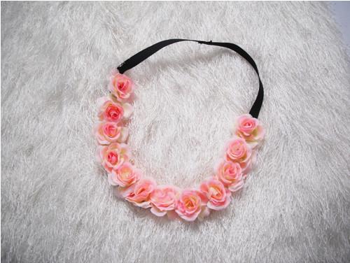 Květinová čelenka do vlasů na gumě lososová   Zboží prodejce ... 438ba6a013