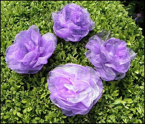 Fialová růže - brož