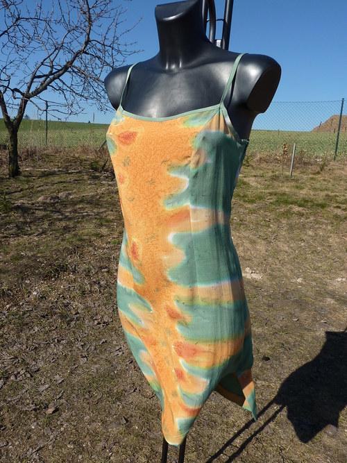 Hedvábné šaty zeleno oranž VÝPRODEJ