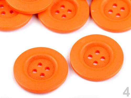 Dřevěný dekorační knoflík 4cm (2ks) - oranžová