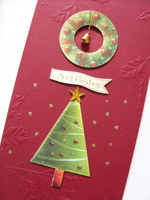 Blahopřání s třpytivým Vánočním stromem, advetním