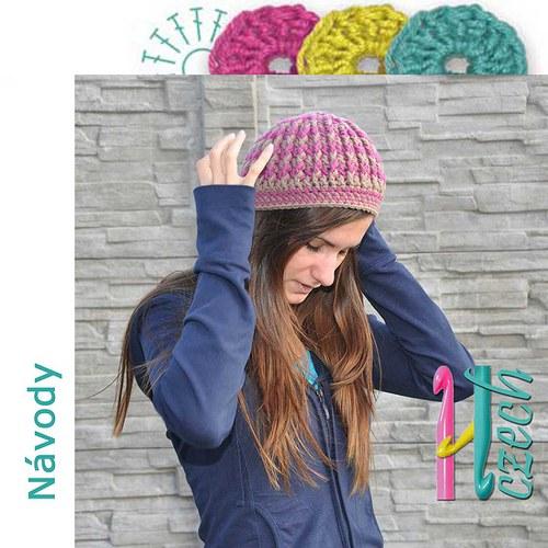 Háčkovaná čepice plastická dvoubarevná