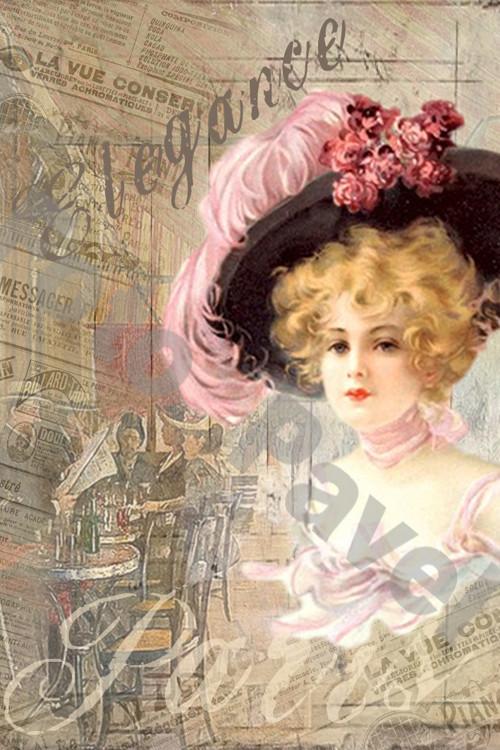 Vintage motiv -  Dáma v Paříži 7