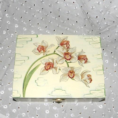 Krabička na čaj - s orchidejí