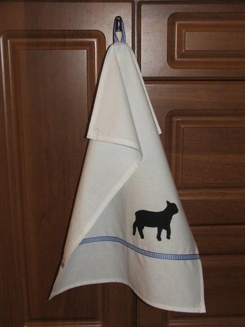 """Utěrka z kolekce \""""V bílém\"""" č.2 ovečka"""