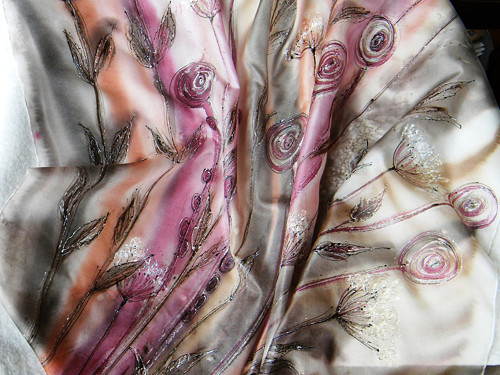 Tichá zahrada   /hedvábný šátek 90 x 90cm/