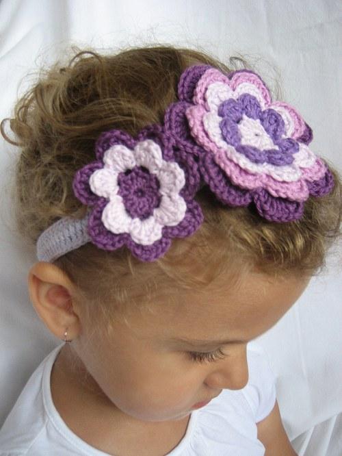Háčkovaná čelenka s kytkami-fialová,lila,fialová