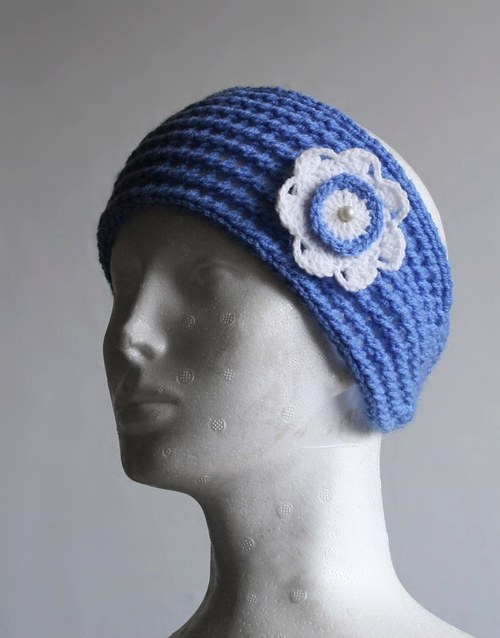 Podzimní čelenka dírkovaná zapínací, modrá širší