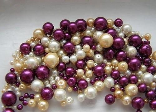 Voskované skleněné perly zlatofialový MIX Ø4-10mm