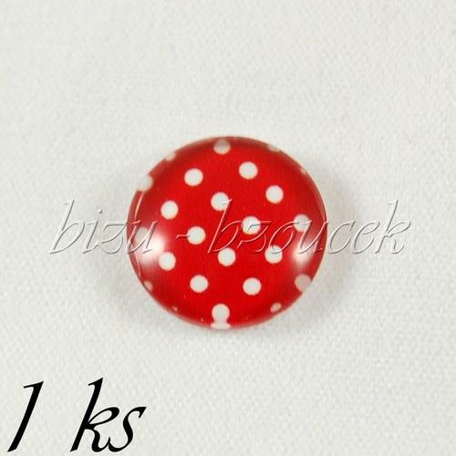 Skleněný kabošon červený s puntíky - 1ks, 12 mm
