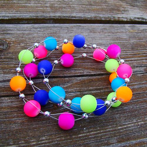 náhrdelník neonový duhový