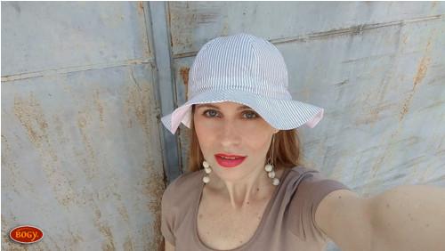 letní romantický klobouk na mašli, béžový proužek