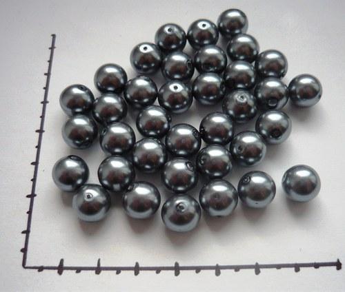 Perle skleněné voskované tm.šedé 10mm, 6ks
