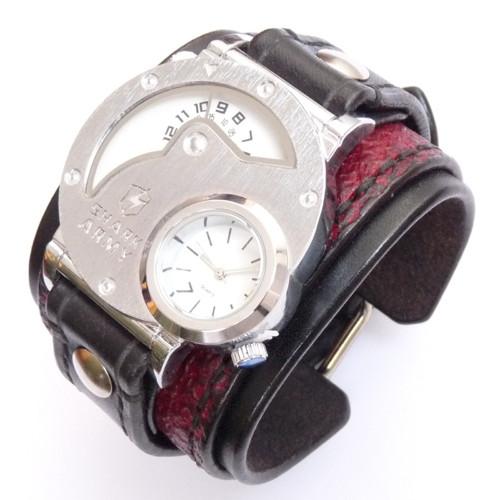 Pánske steampunk hodinky, černá červená