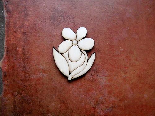 2D výřez květina se stonkem v.4,5x3,5cm