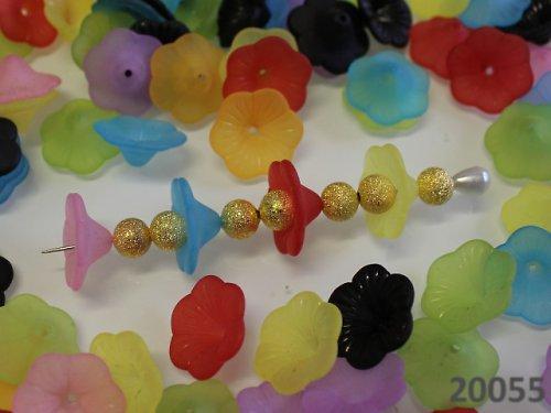 20055 Kaplík akrylový plošší květ, bal.5ks